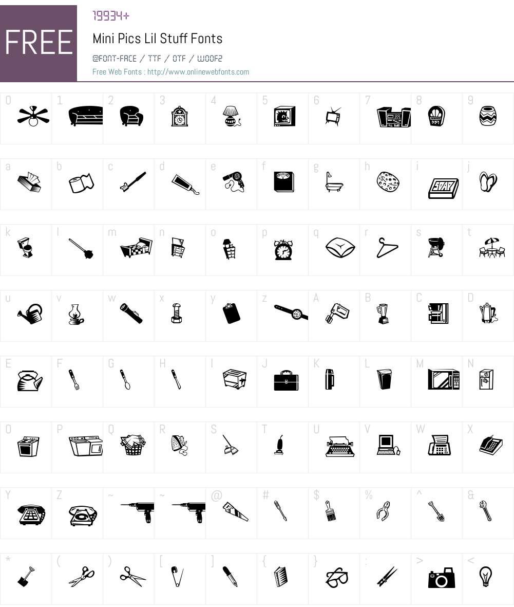 Mini Pics Lil Stuff Font Screenshots