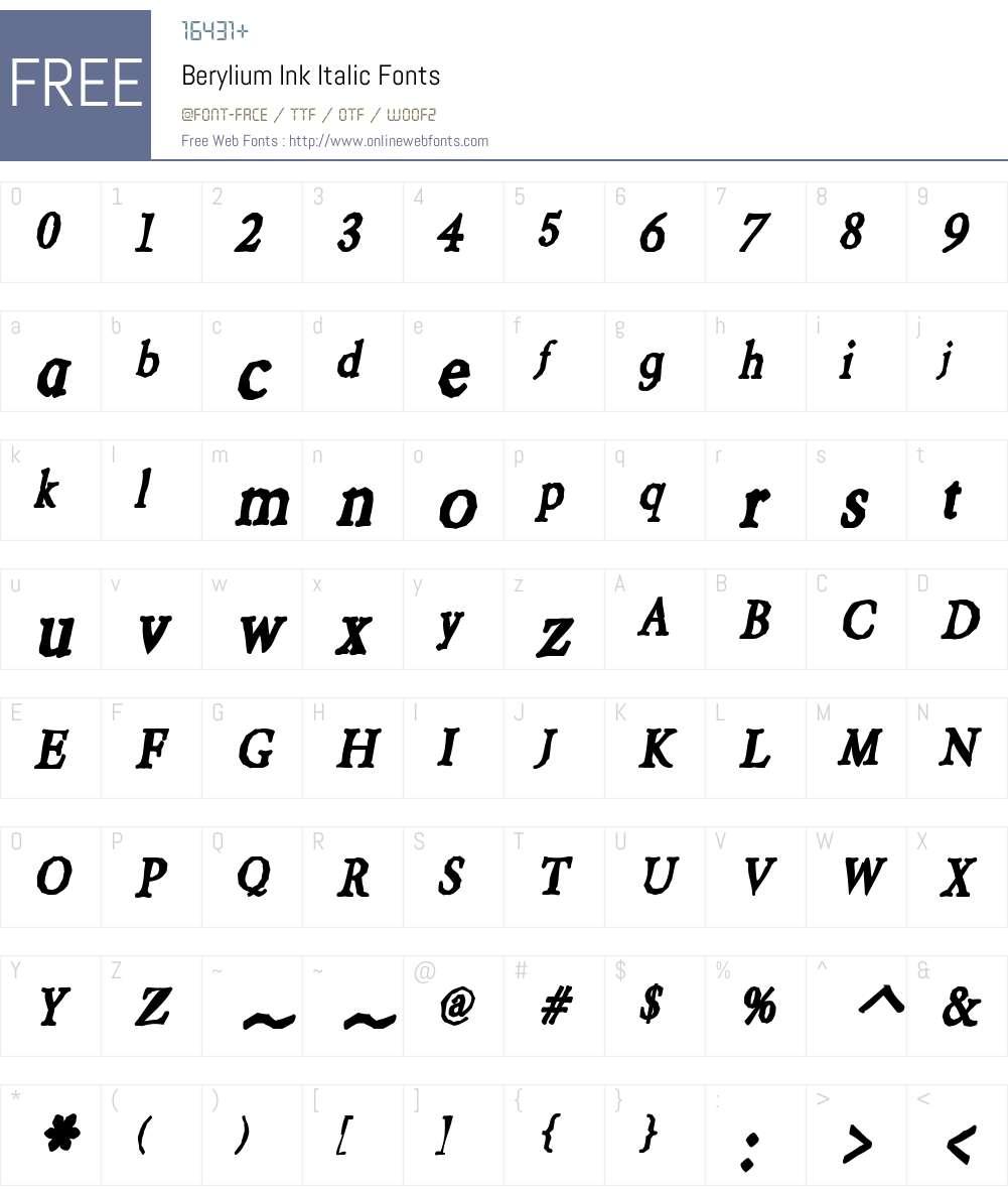 Berylium Ink Font Screenshots