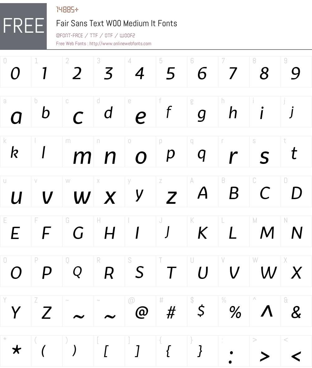 FairSansTextW00-MediumIt Font Screenshots
