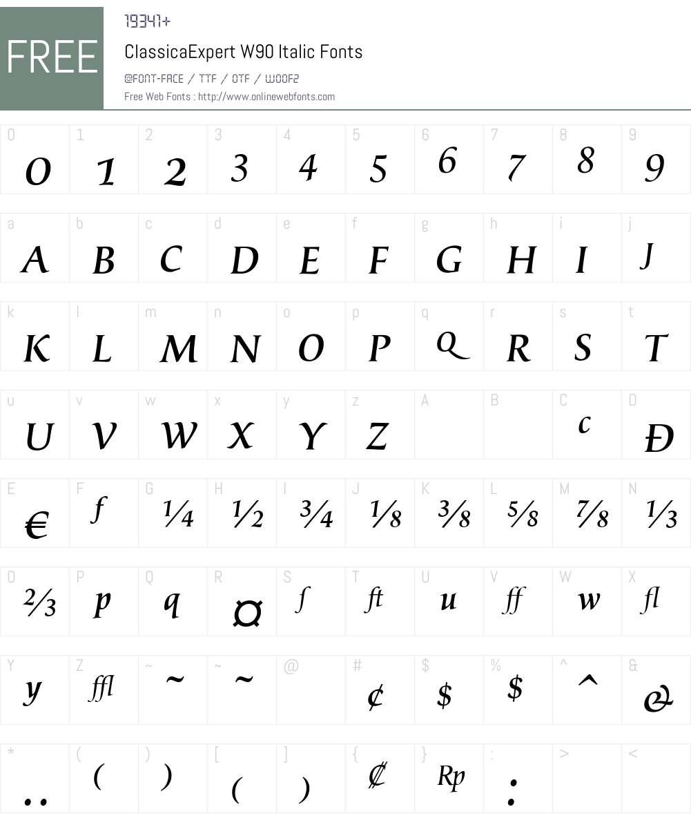 ClassicaExpertW90-Italic Font Screenshots