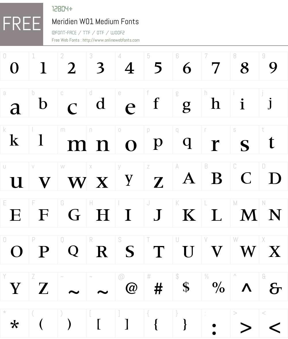 MeridienW01-Medium Font Screenshots