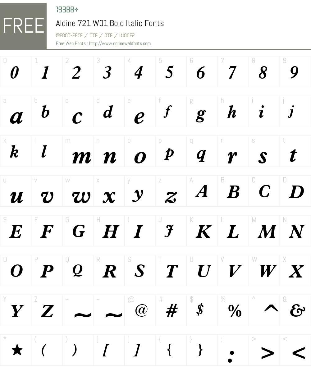 Aldine721W01-BoldItalic Font Screenshots