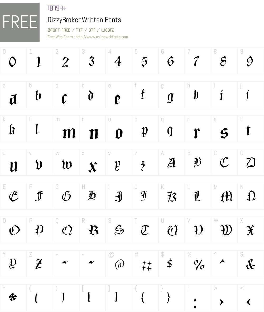 DizzyBrokenWritten Font Screenshots