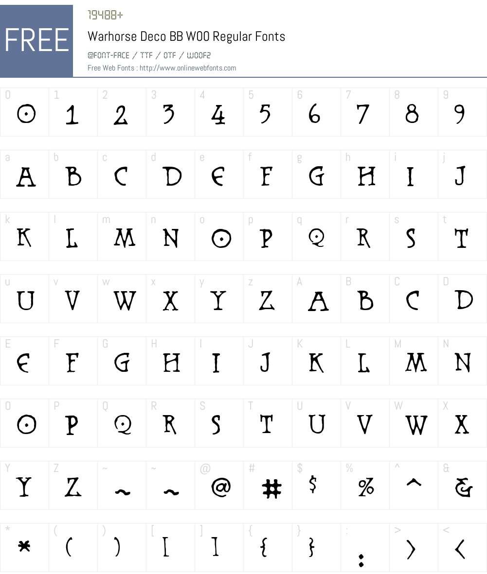 WarhorseDecoBBW00-Regular Font Screenshots