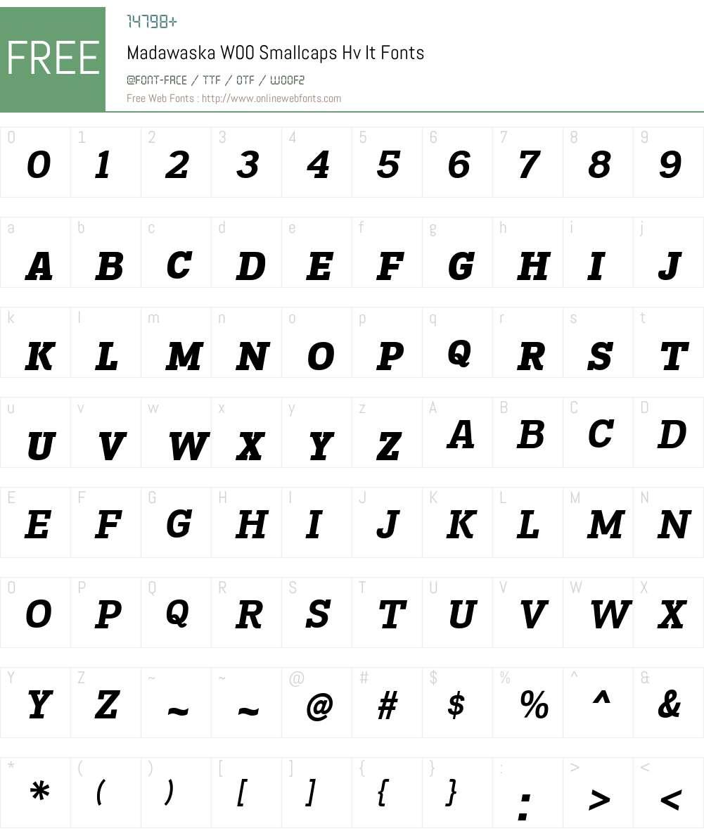 MadawaskaW00-SmallcapsHvIt Font Screenshots
