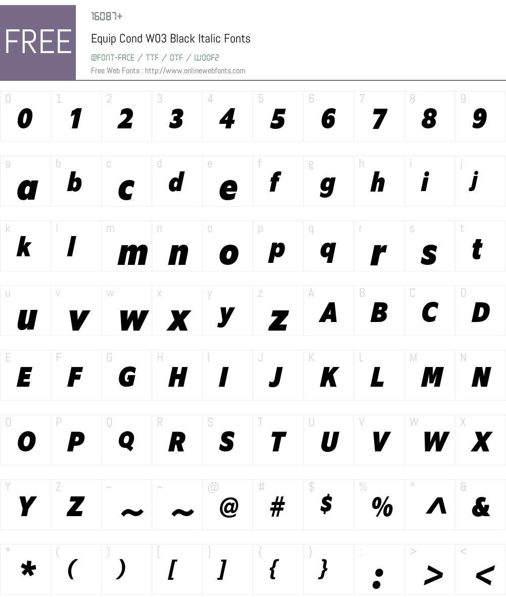 EquipCondW03-BlackItalic Font Screenshots