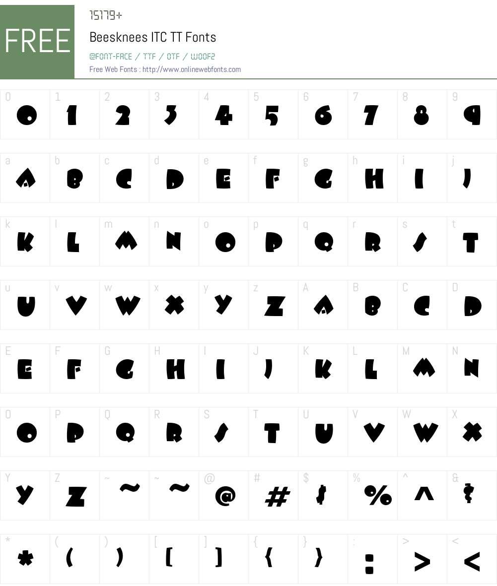 Beesknees ITC TT Font Screenshots