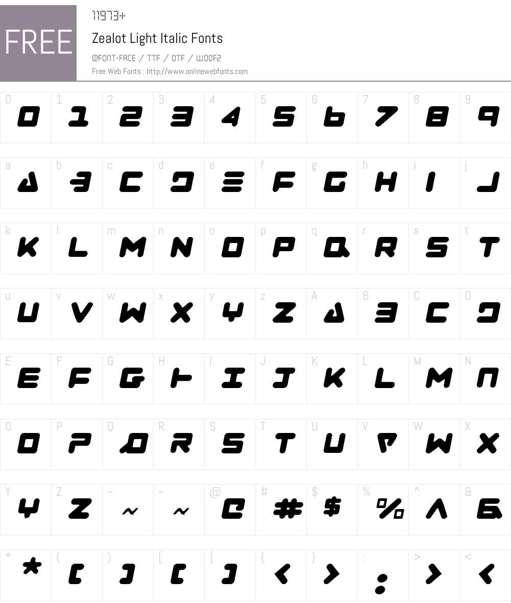 Zealot Light Italic Font Screenshots