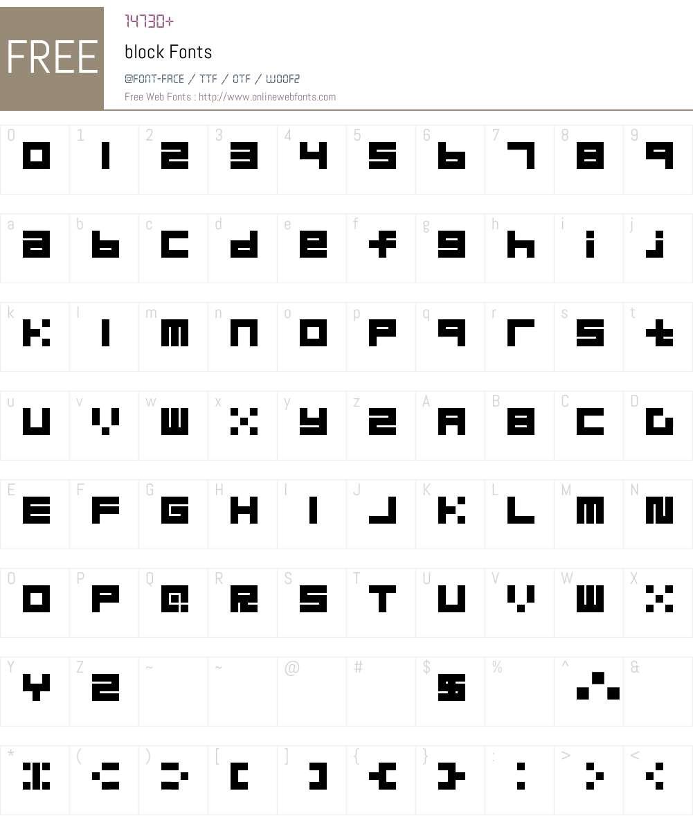 block Font Screenshots