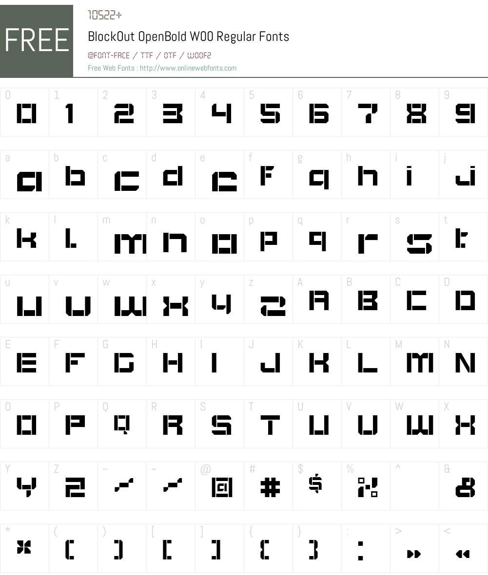 BlockOutOpenBoldW00-Regular Font Screenshots