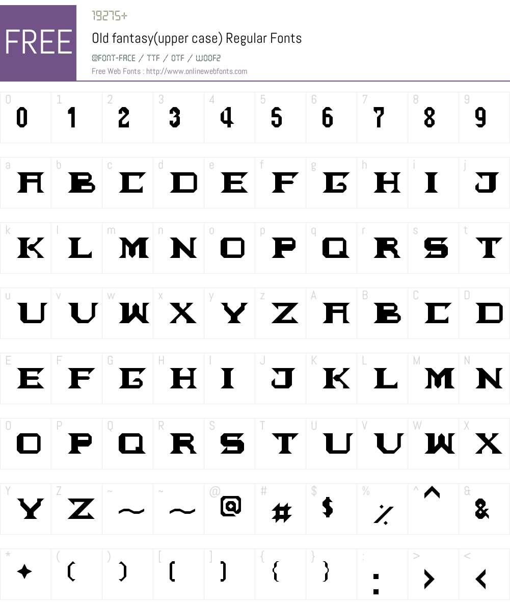 Old fantasy(upper case) Font Screenshots