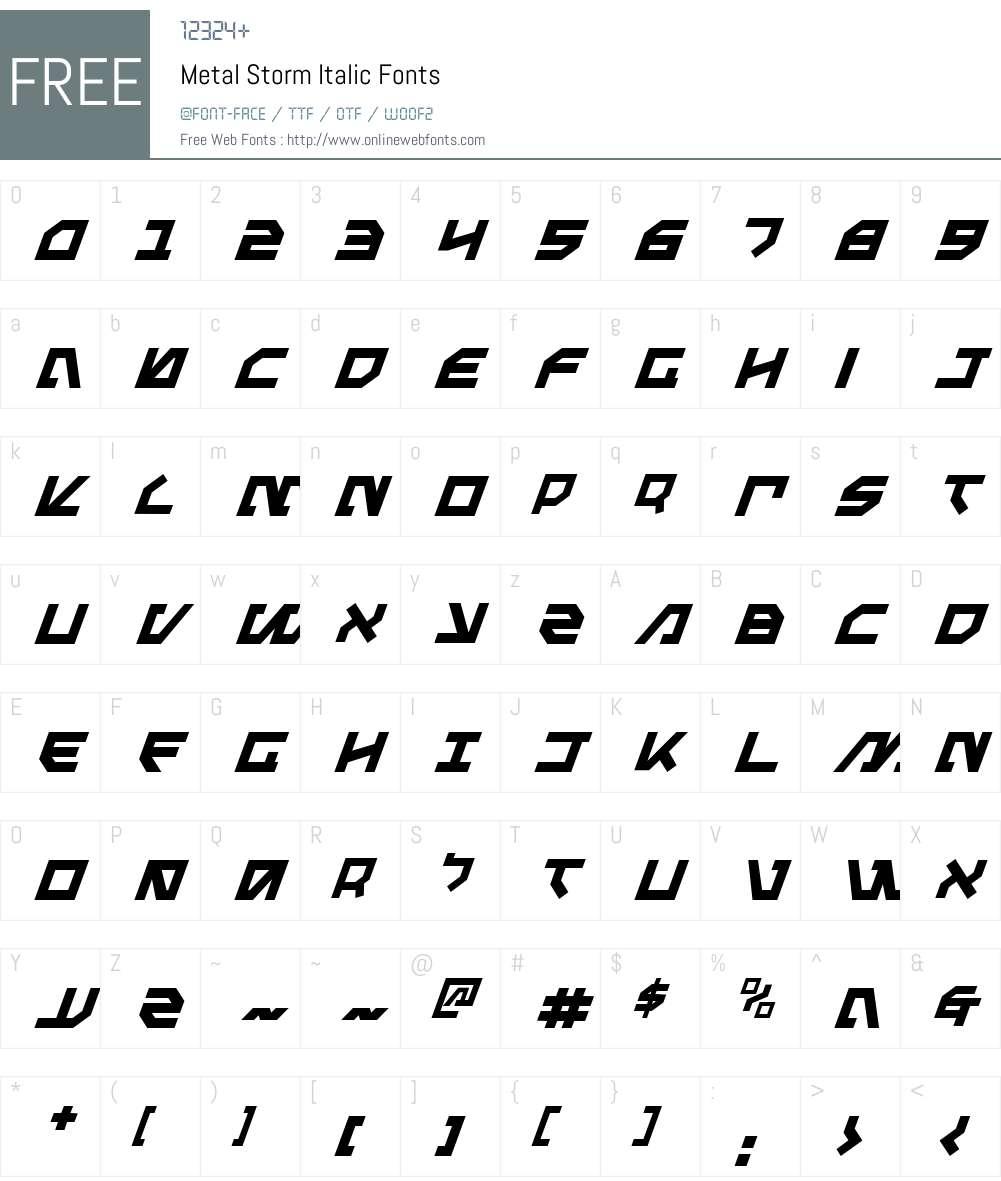 Metal Storm Italic Font Screenshots