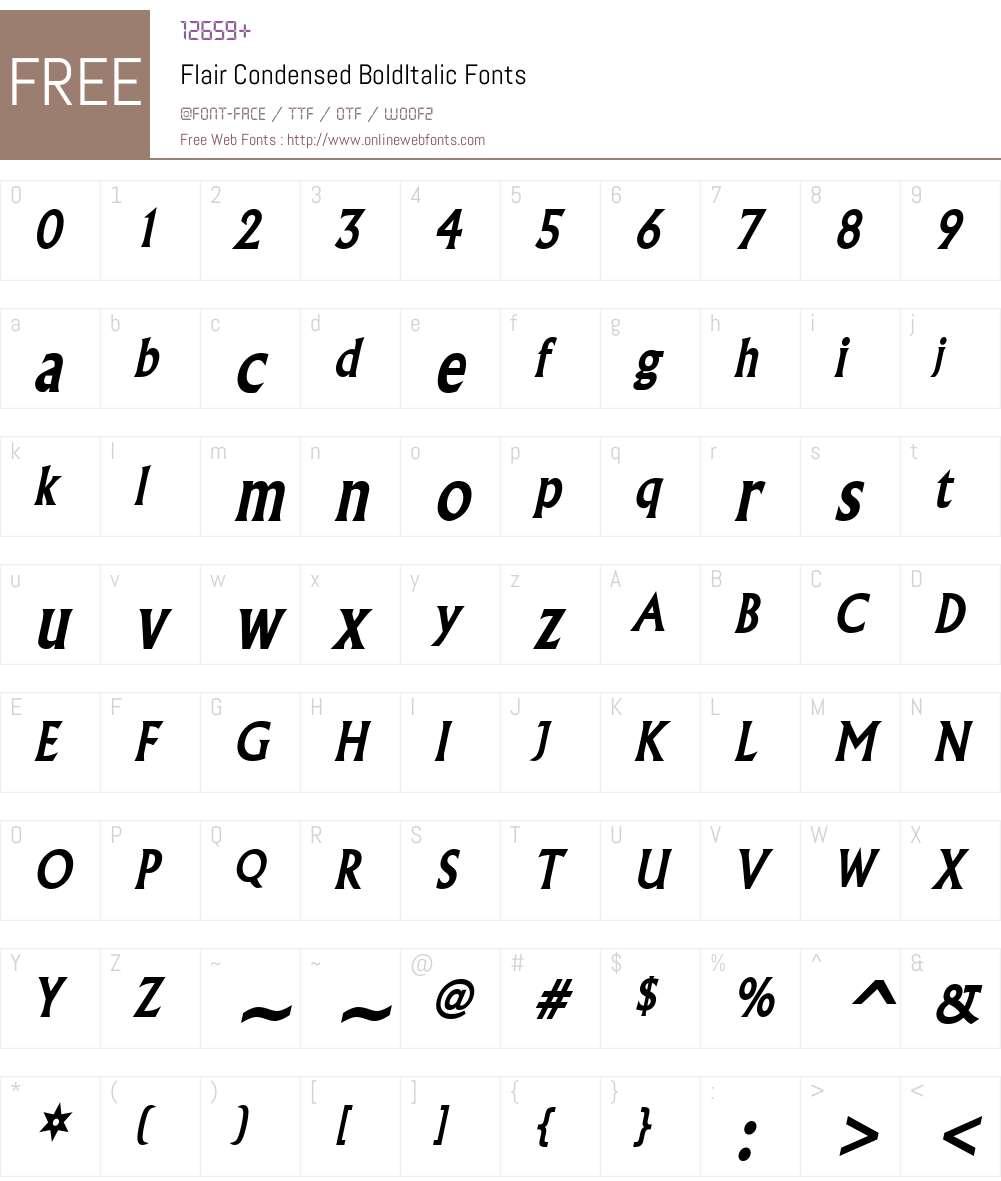 Flair Condensed Font Screenshots