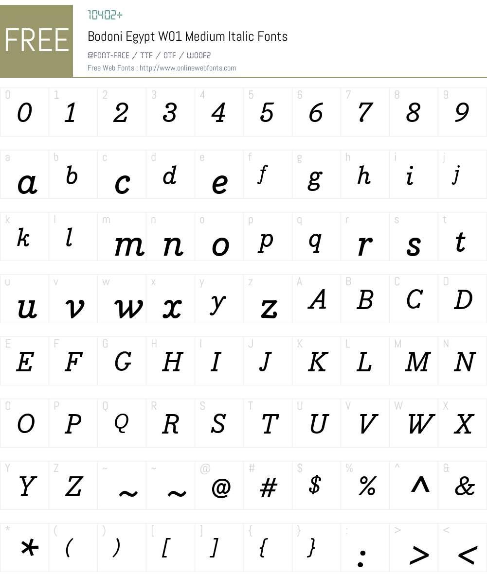 BodoniEgyptW01-MediumItalic Font Screenshots