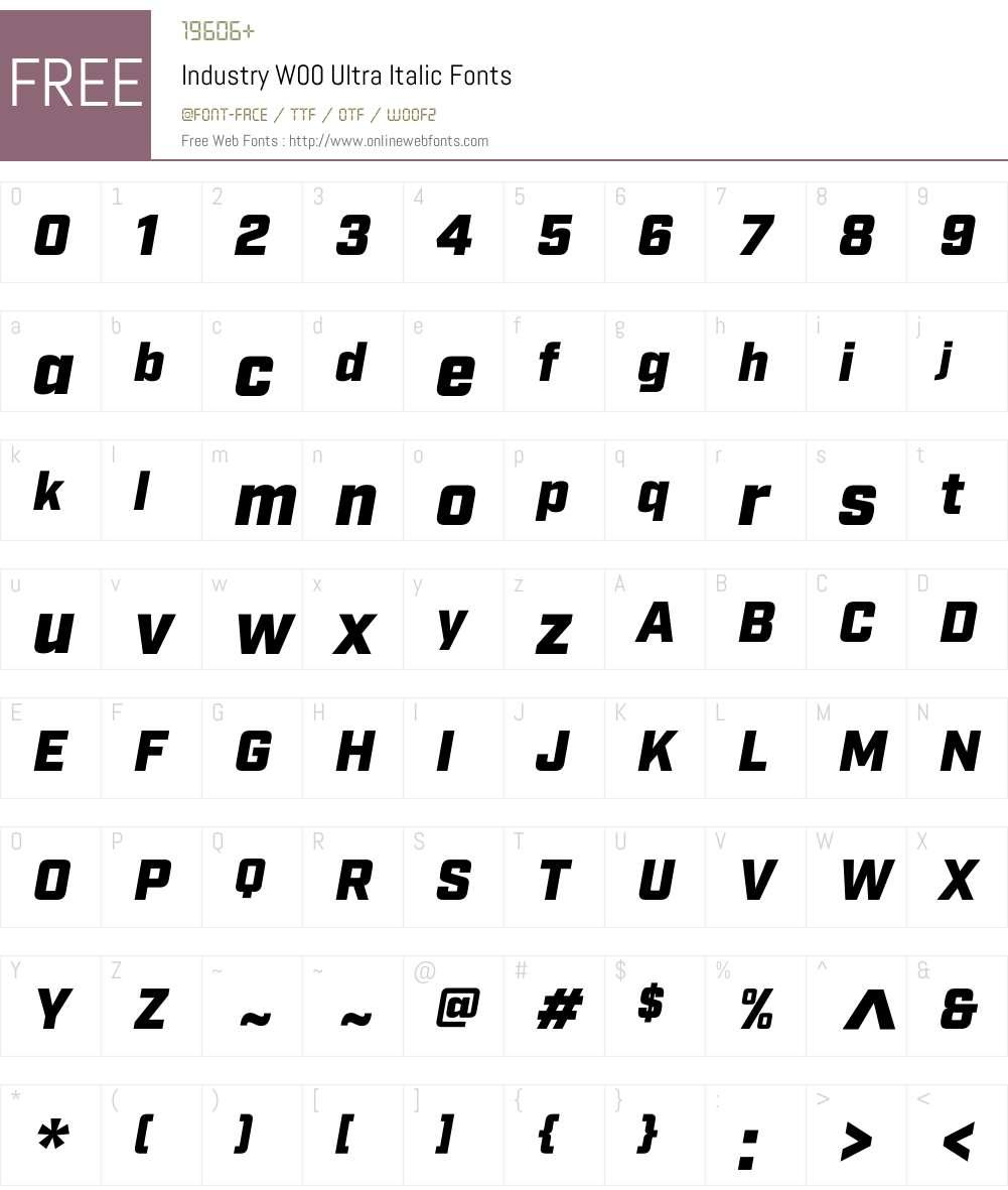 IndustryW00-UltraItalic Font Screenshots
