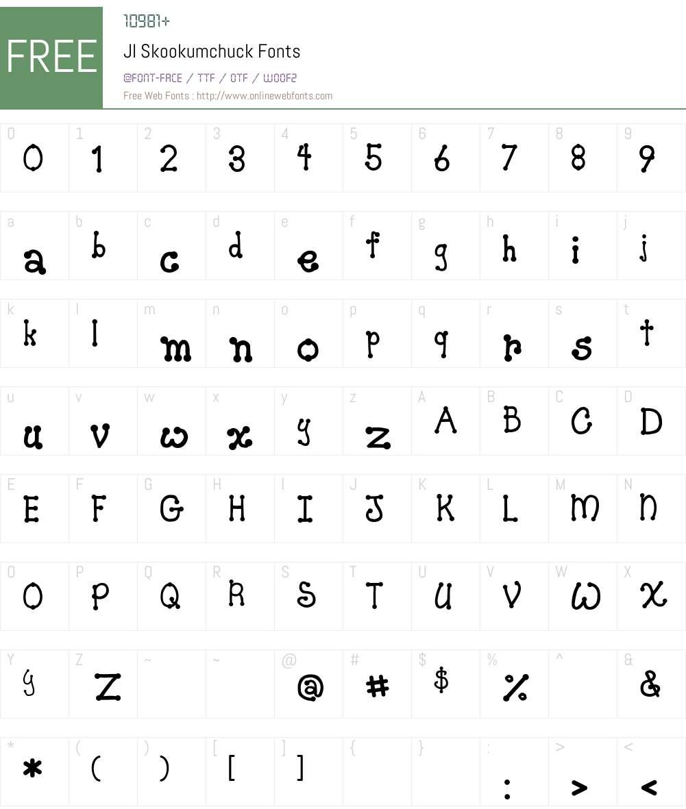 JI Skookumchuck Font Screenshots