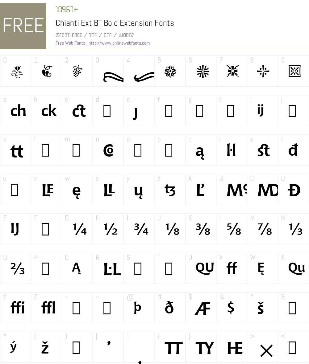 Chianti Ext BT Font Screenshots