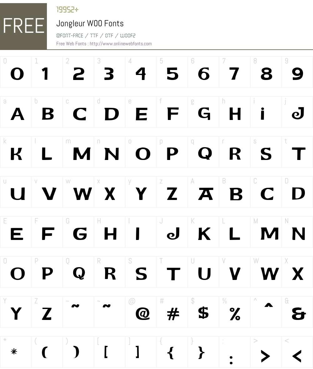 JongleurW00 Font Screenshots