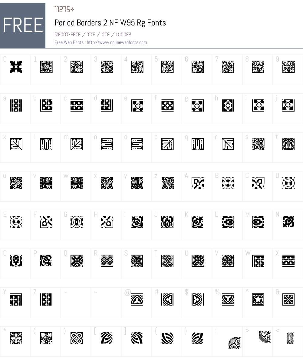 PeriodBorders2NFW95-Regular Font Screenshots