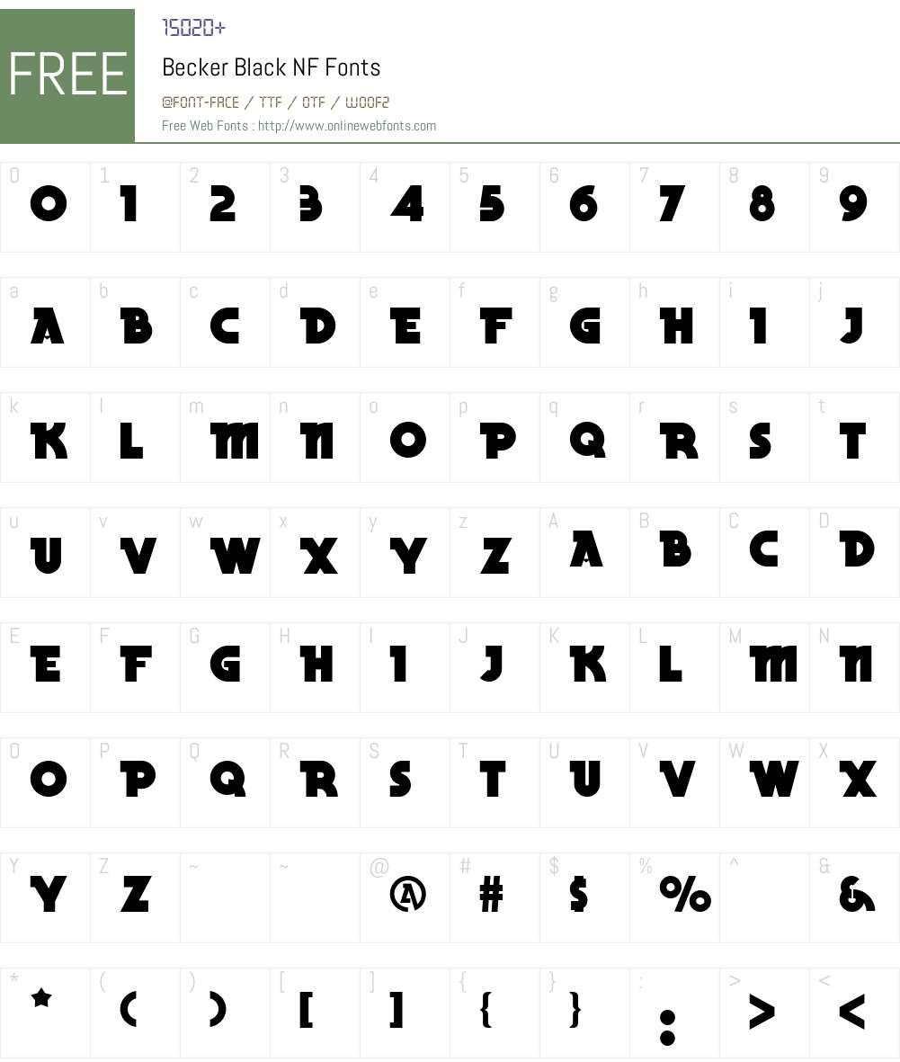 Becker Black NF Font Screenshots