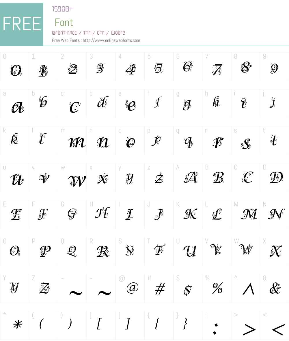 Lucida Calligraphy Font Screenshots