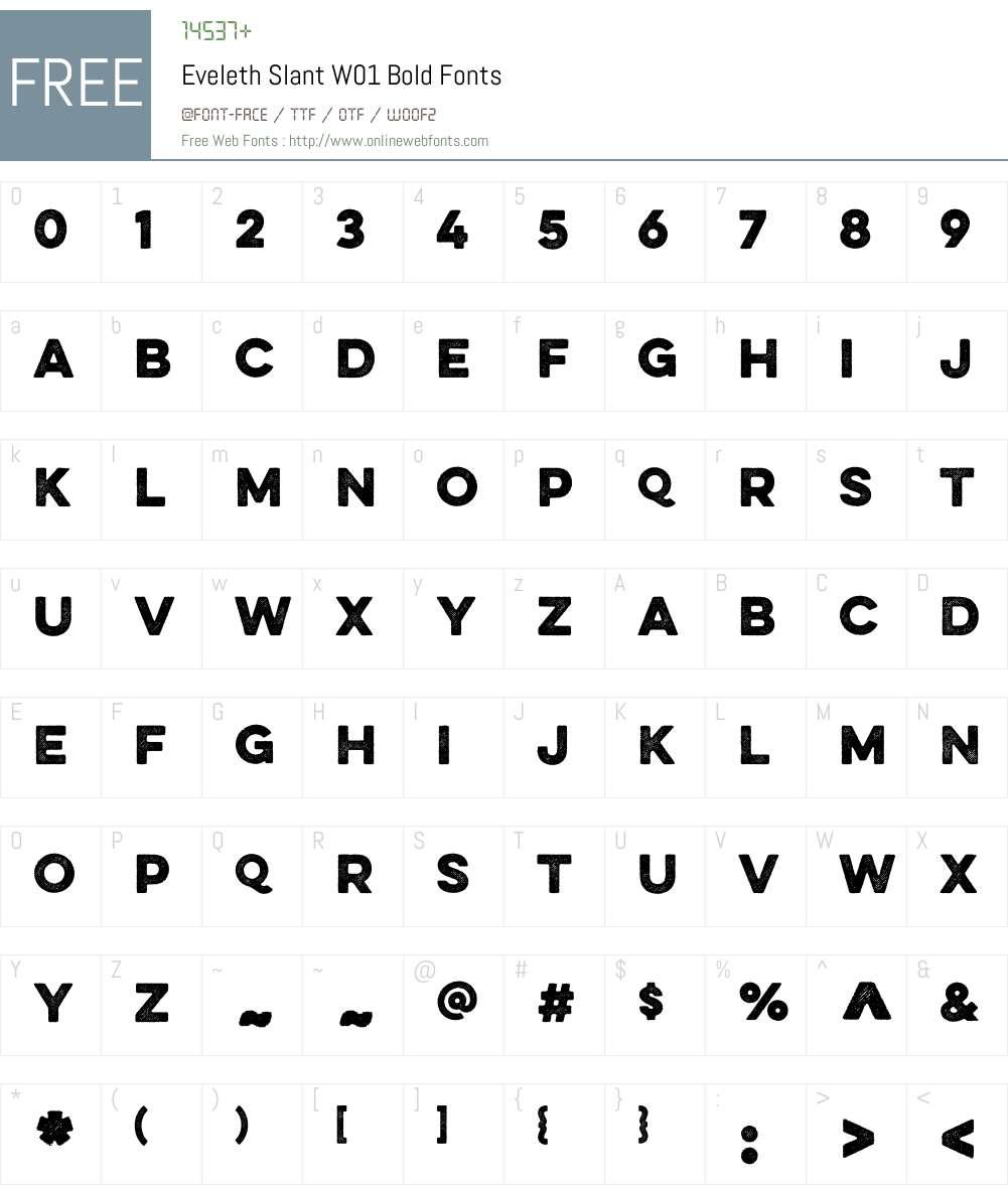 EvelethSlantW01-Bold Font Screenshots