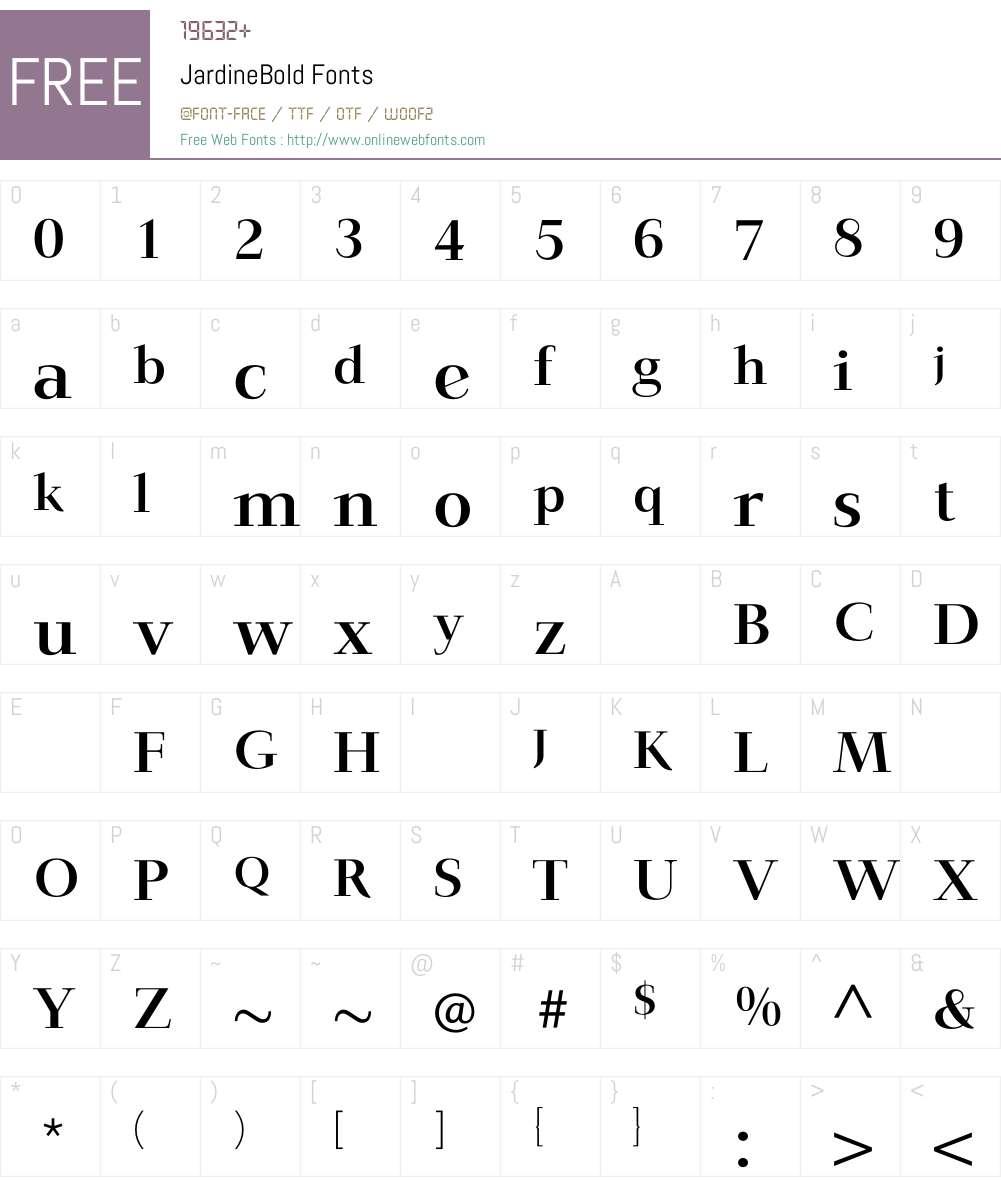 JardineBold Font Screenshots