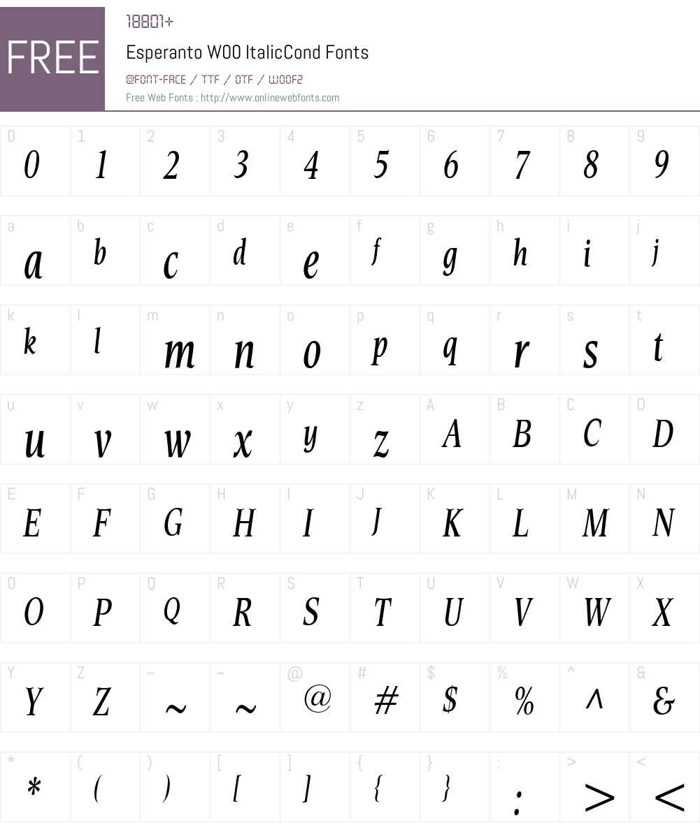 EsperantoW00-ItalicCond Font Screenshots