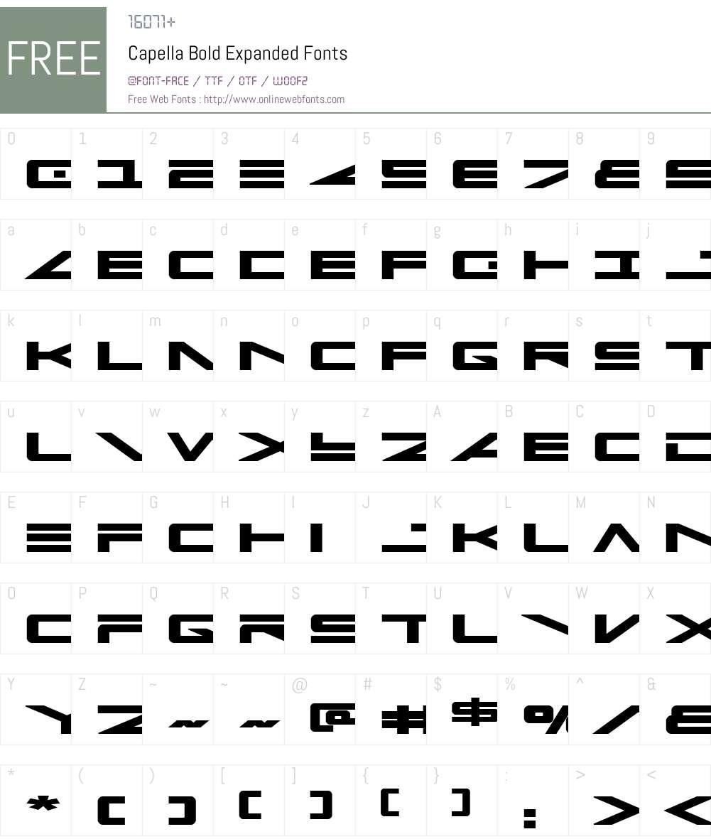 Capella Bold Expanded Font Screenshots