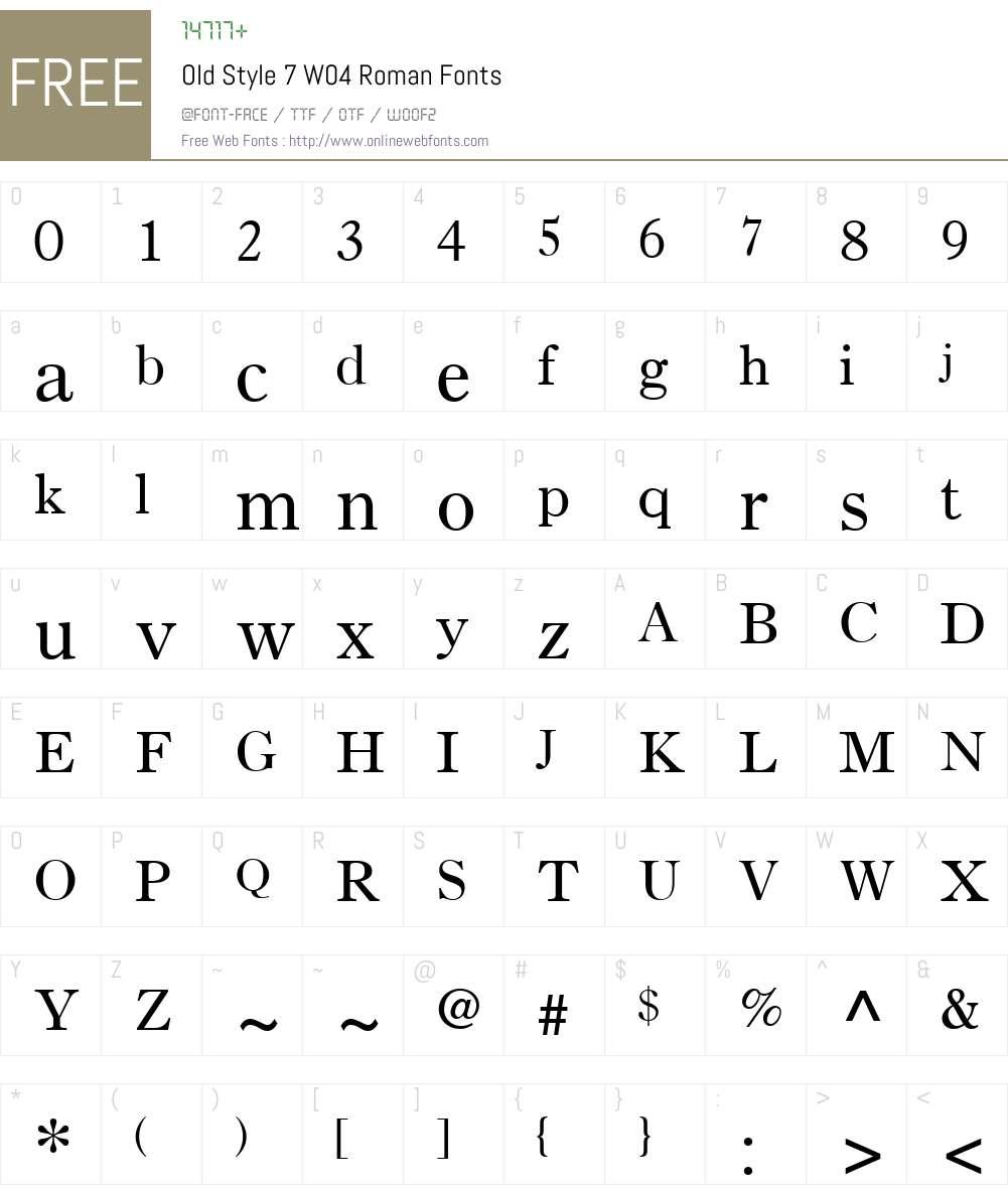 Old Style 7 Font Screenshots