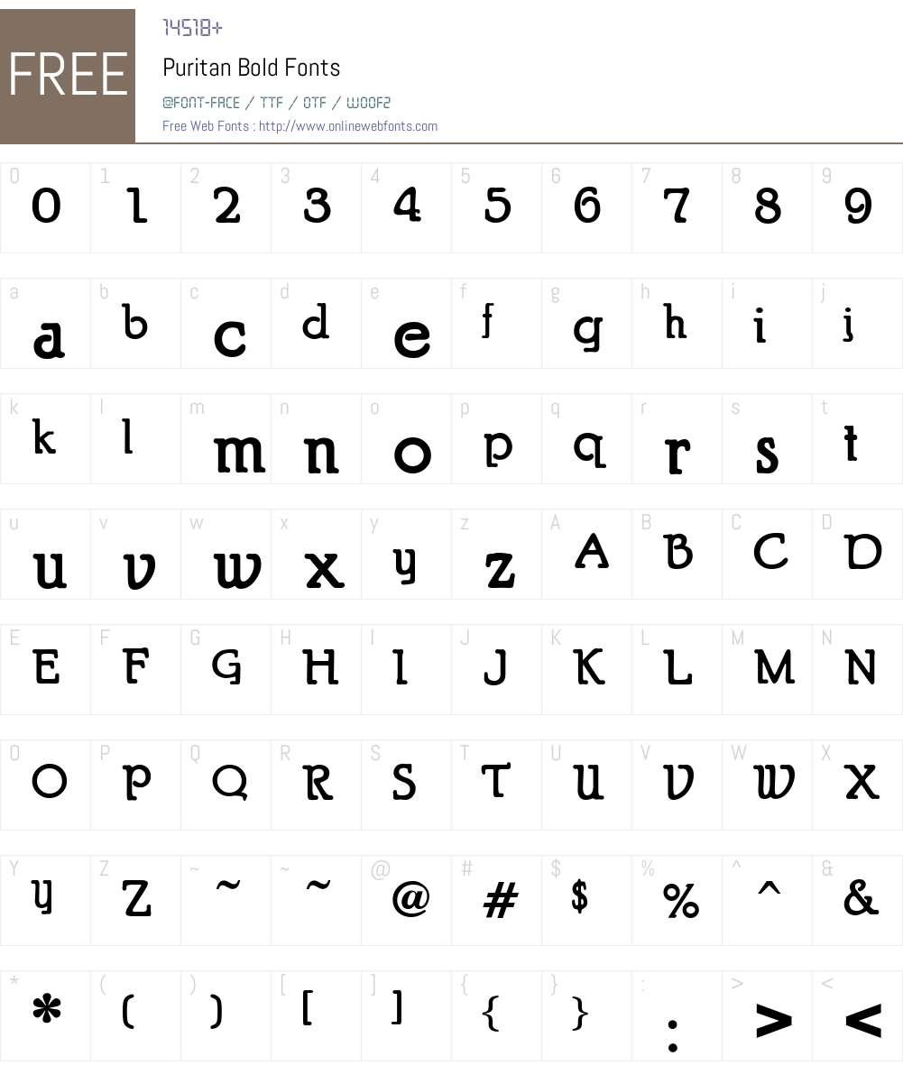 Puritan Font Screenshots