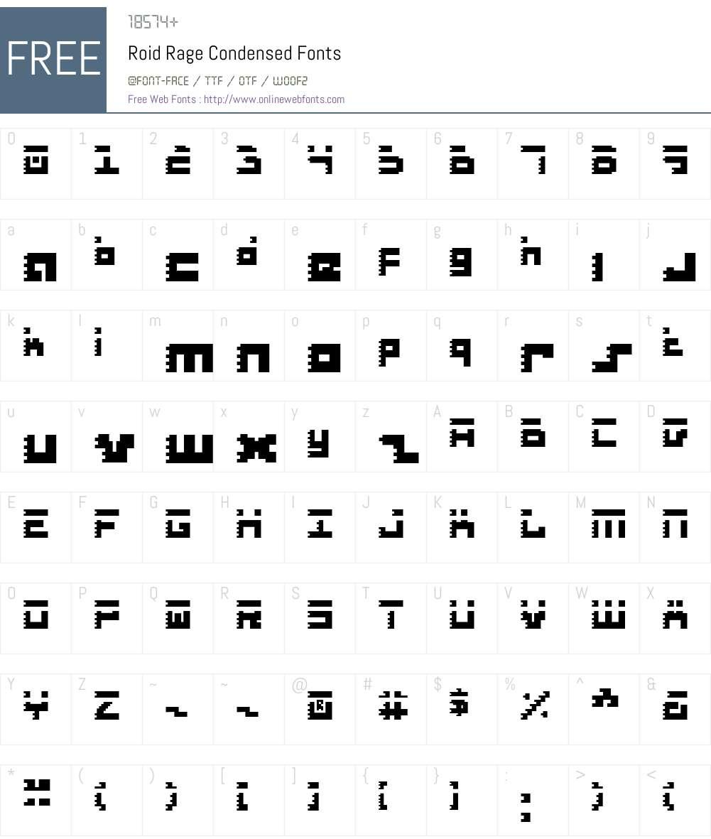 Roid Rage Condensed Font Screenshots