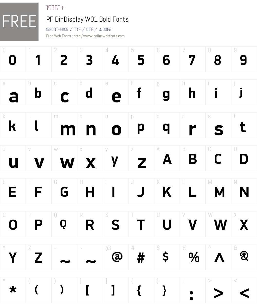 PFDinDisplayW01-Bold Font Screenshots