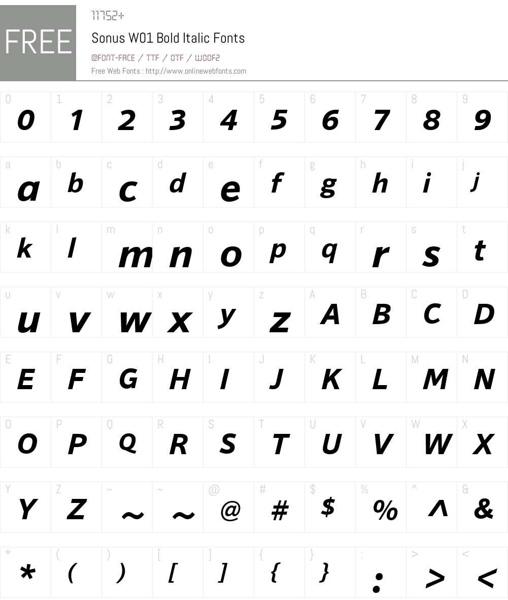SonusW01-BoldItalic Font Screenshots