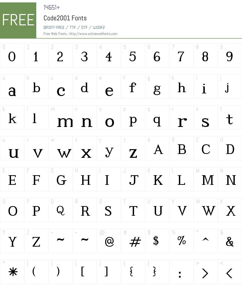 Code2001 Font Screenshots