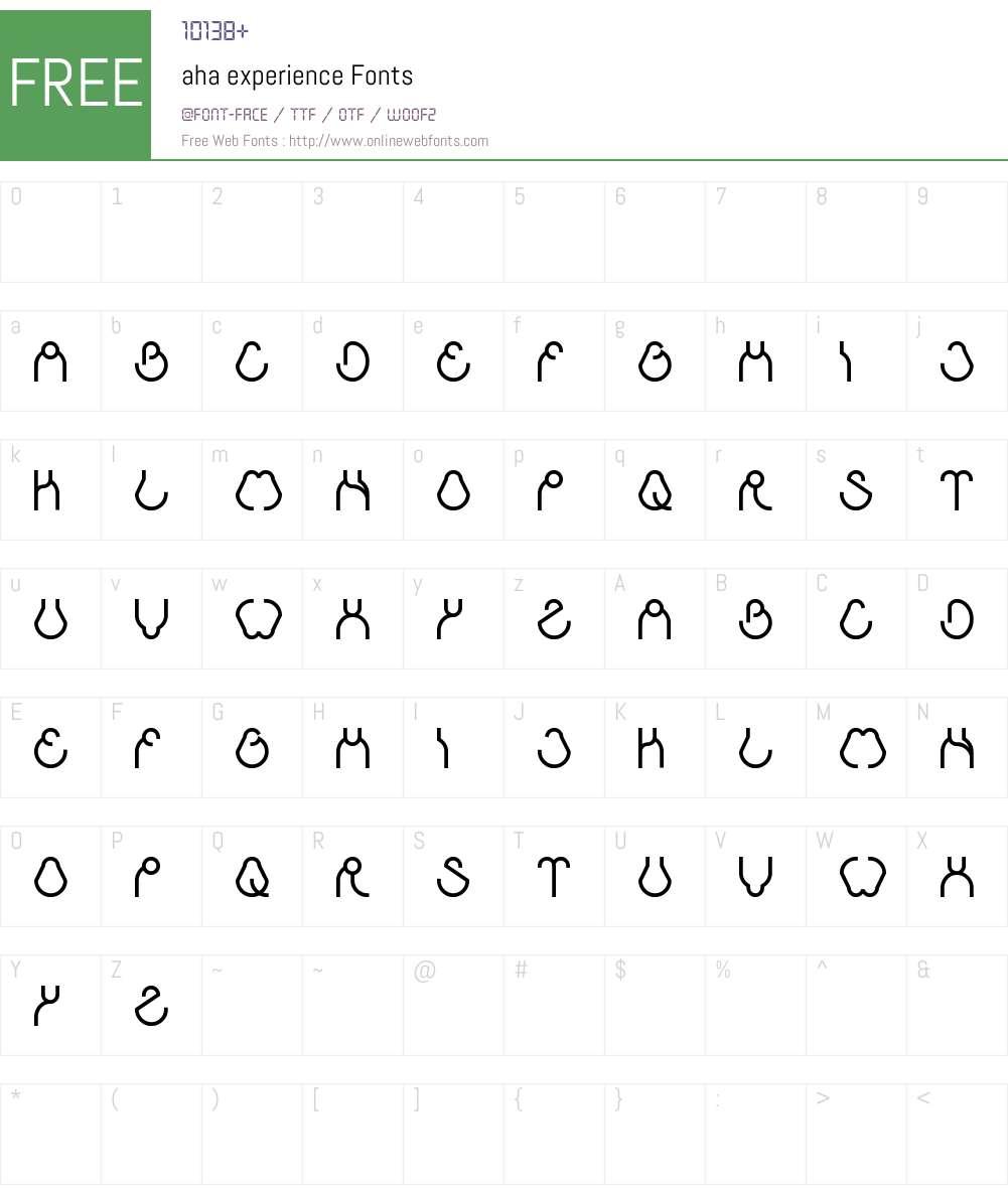 aha experience Font Screenshots