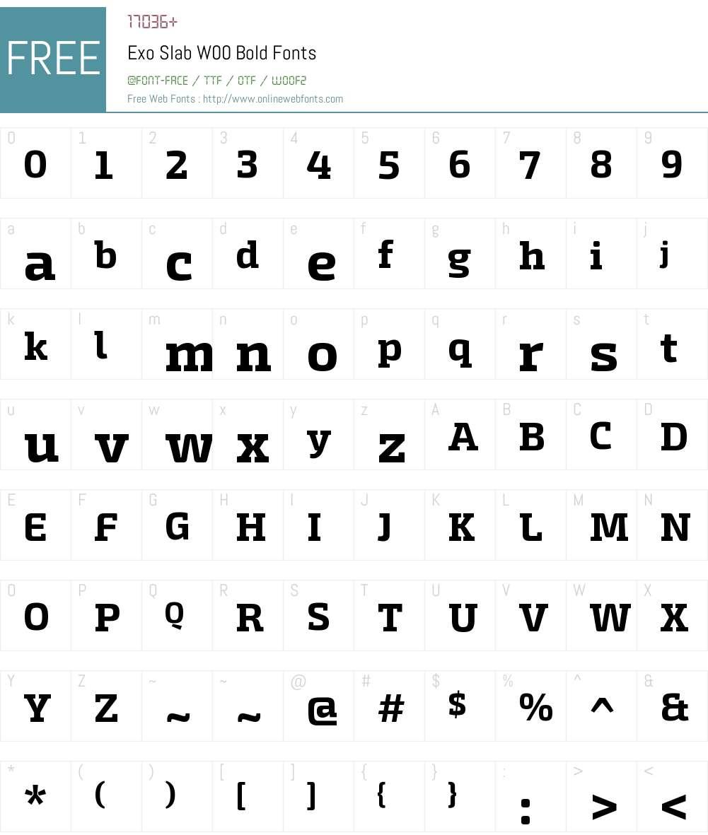 ExoSlabW00-Bold Font Screenshots