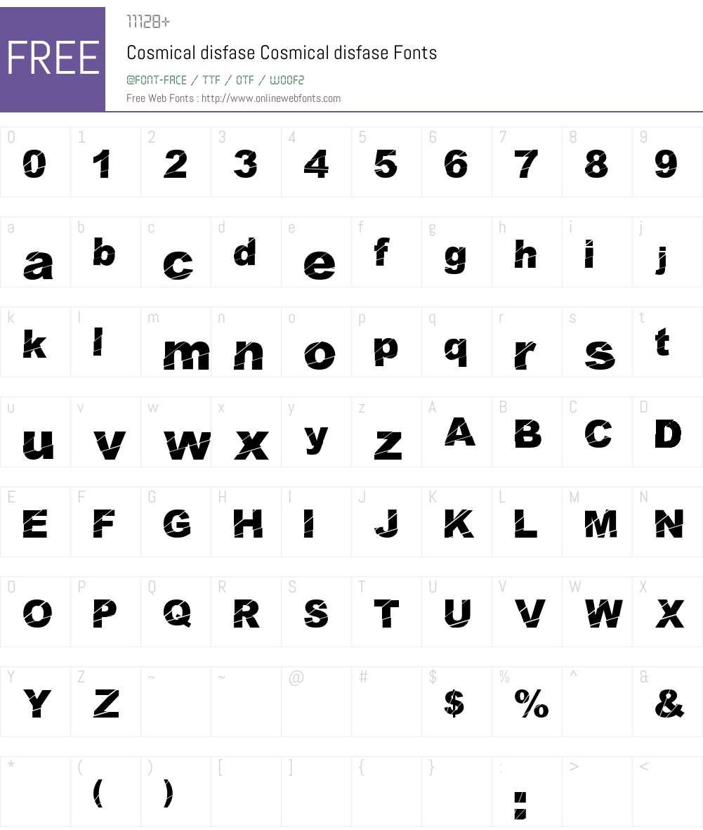Cosmical disfase Font Screenshots