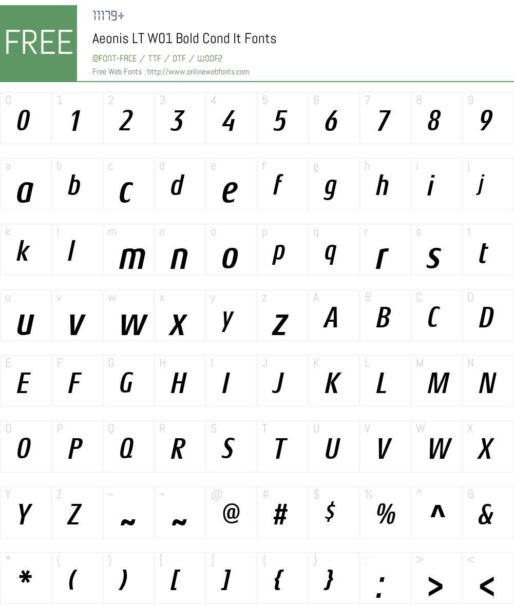 AeonisLTW01-BoldCondIt Font Screenshots