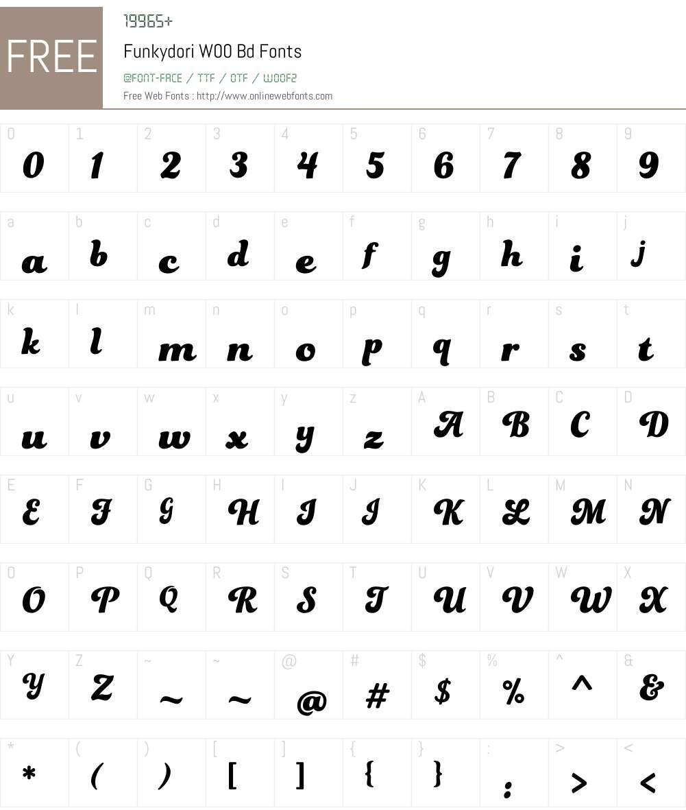 FunkydoriW00-Bd Font Screenshots