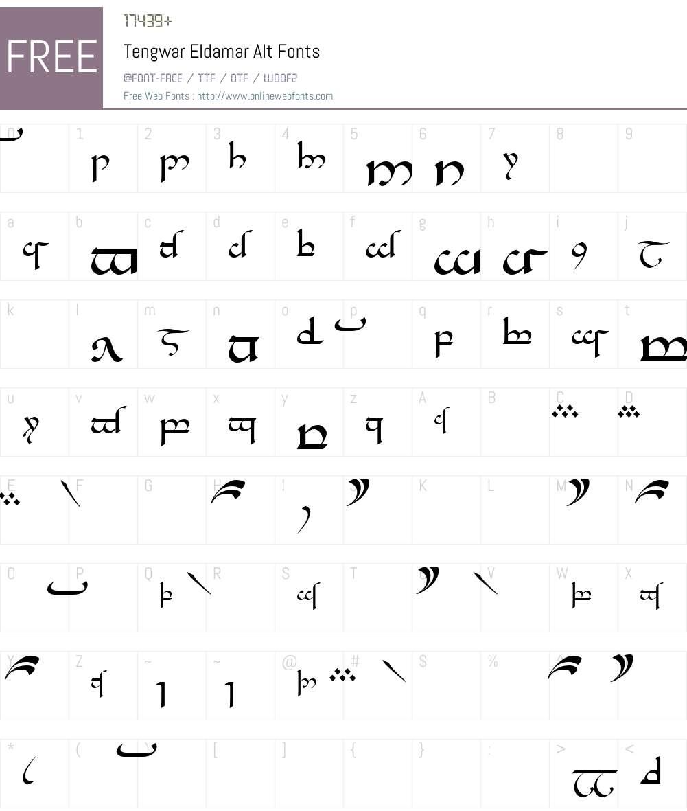 Tengwar Eldamar Alt Font Screenshots