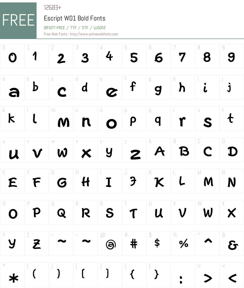 EscriptW01-Bold Font Screenshots