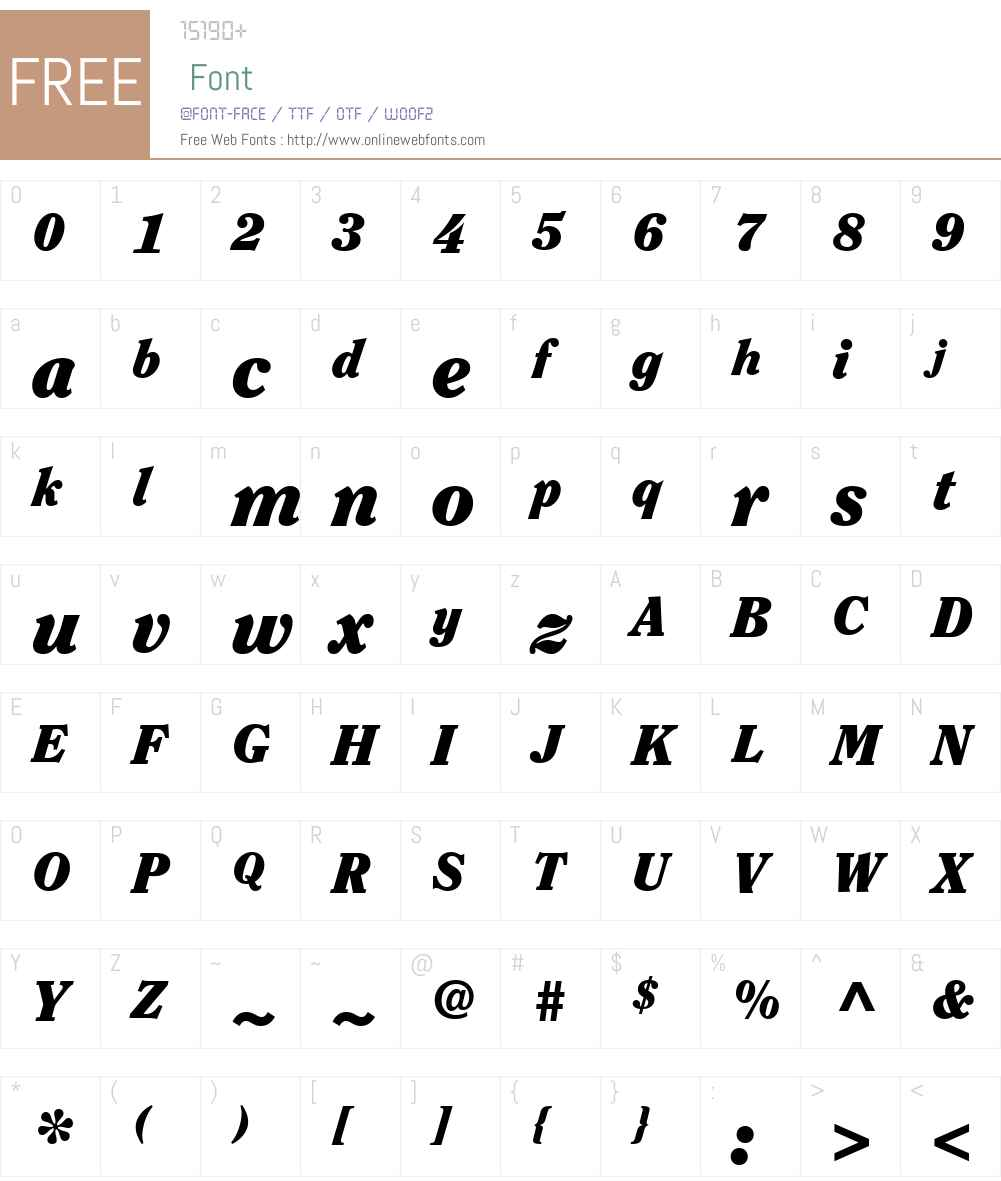 ClearfaceITCW01-BlackItalic Font Screenshots