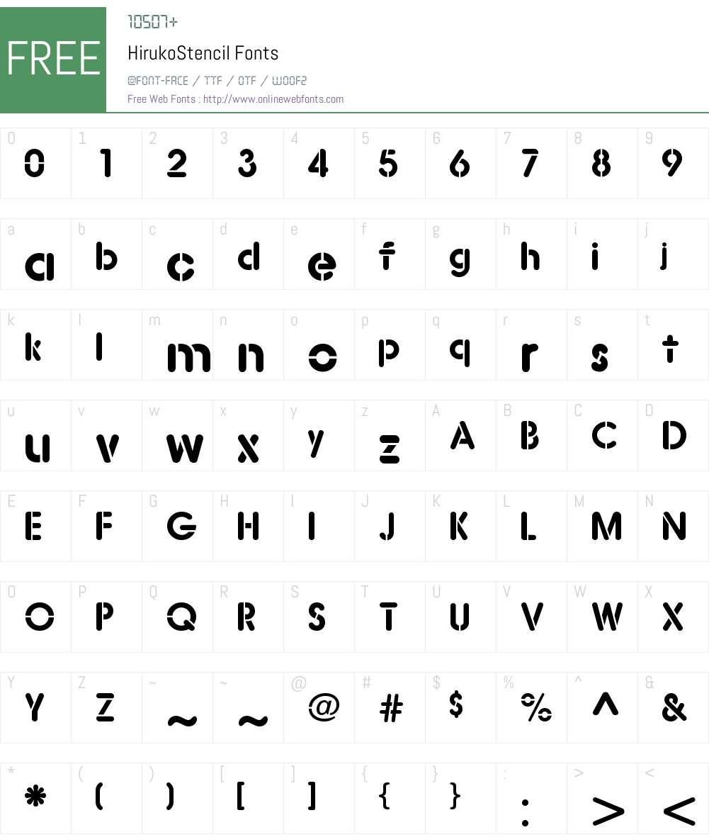 Hiruko Stencil Font Screenshots