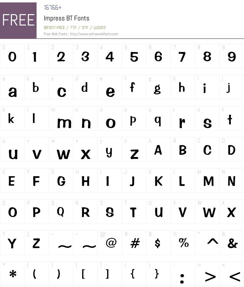 Impress Font Screenshots