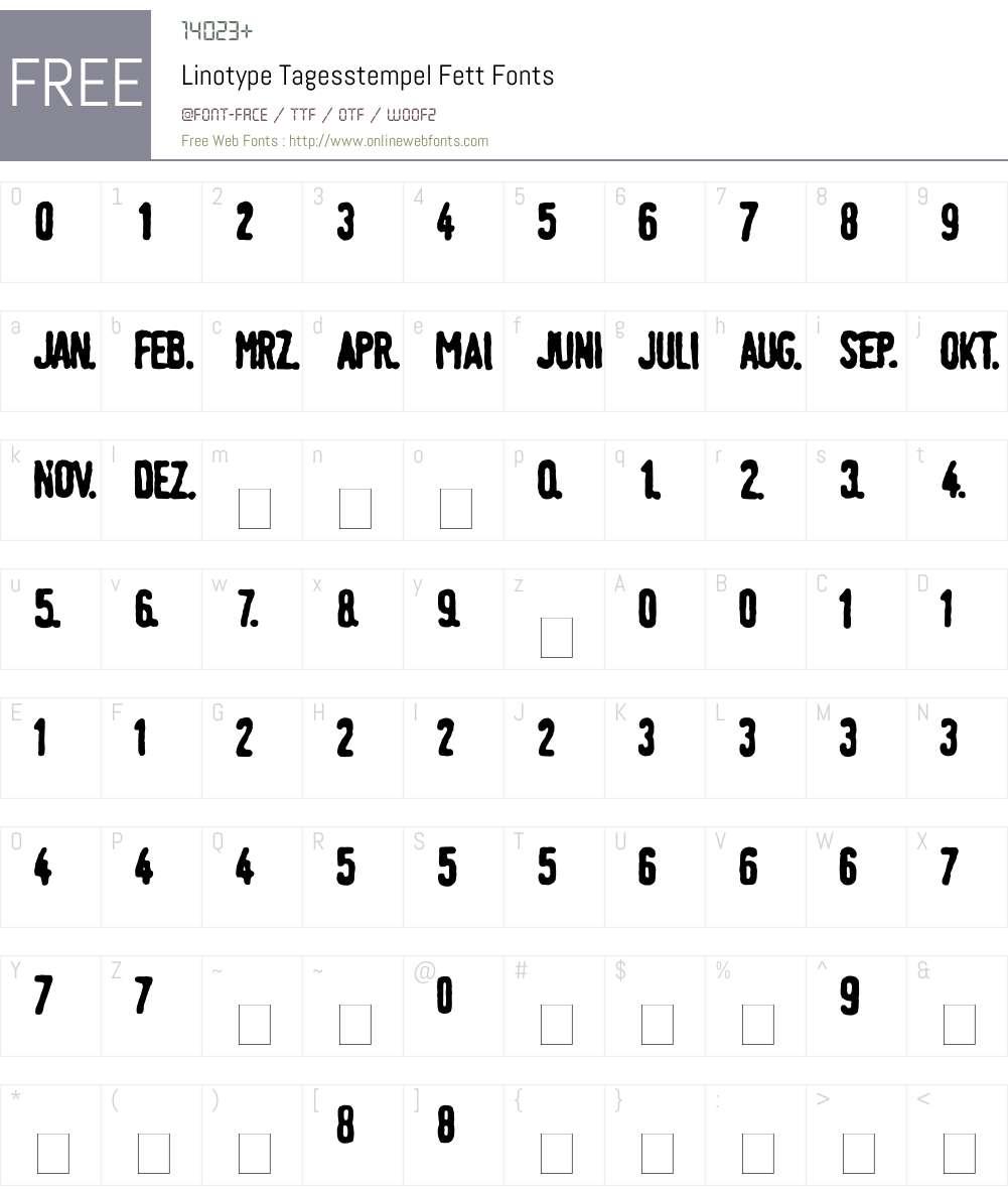 LTTagesstempel Font Screenshots