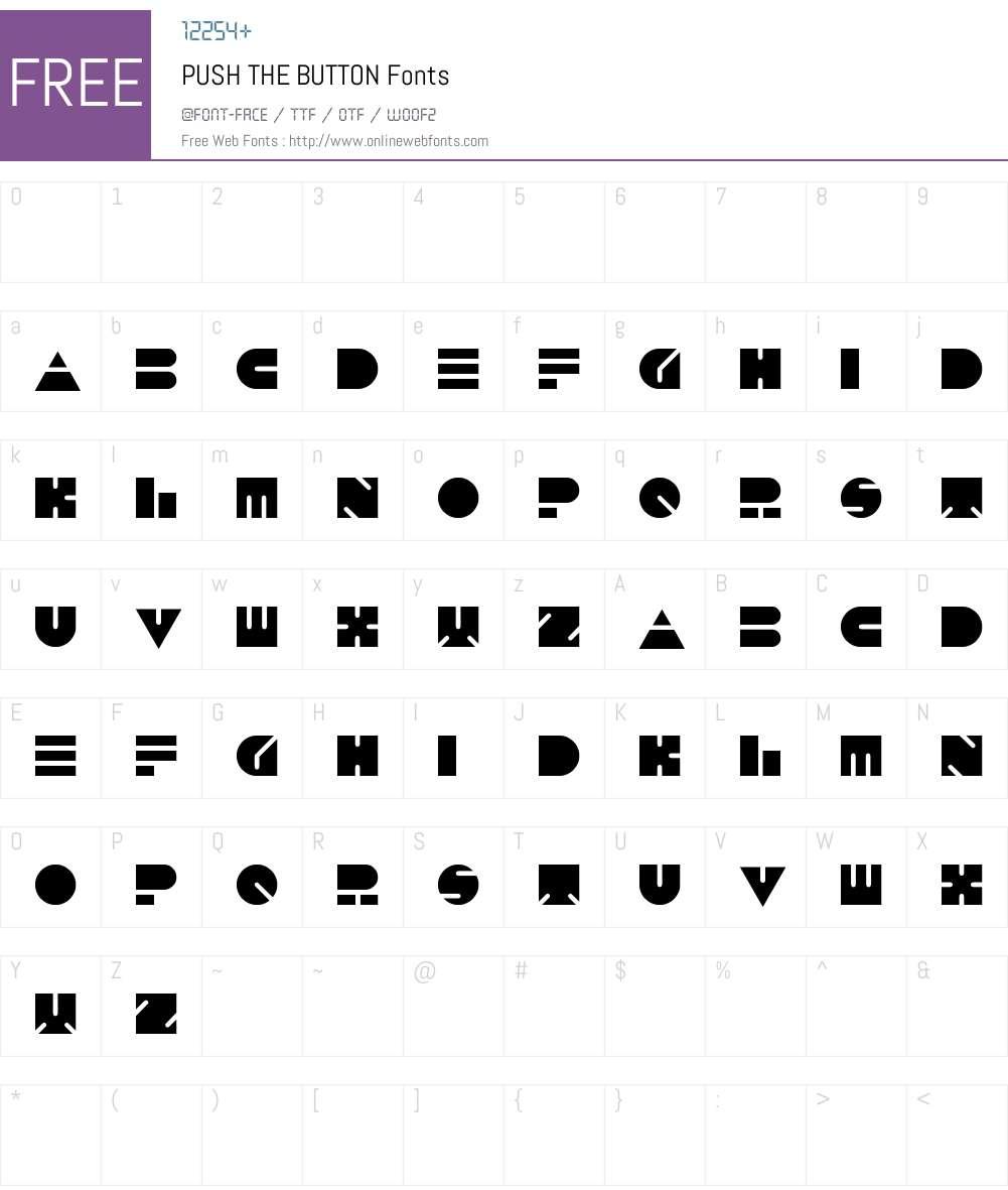 PUSH THE BUTTON Font Screenshots
