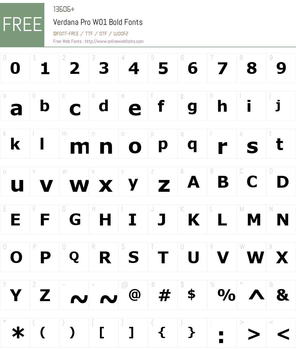 VerdanaProW01-Bold Font Screenshots