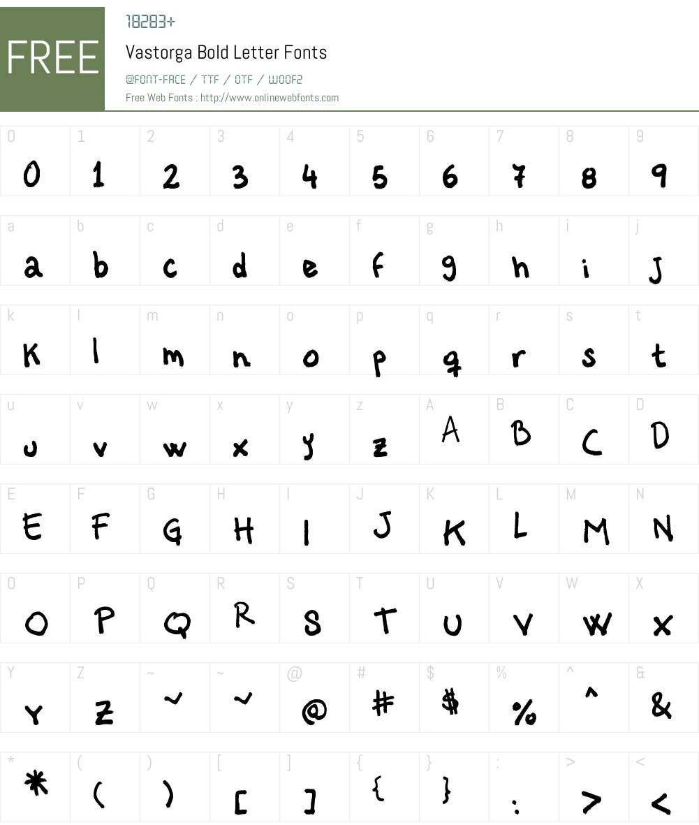 Vastorga Bold Letter Font Screenshots