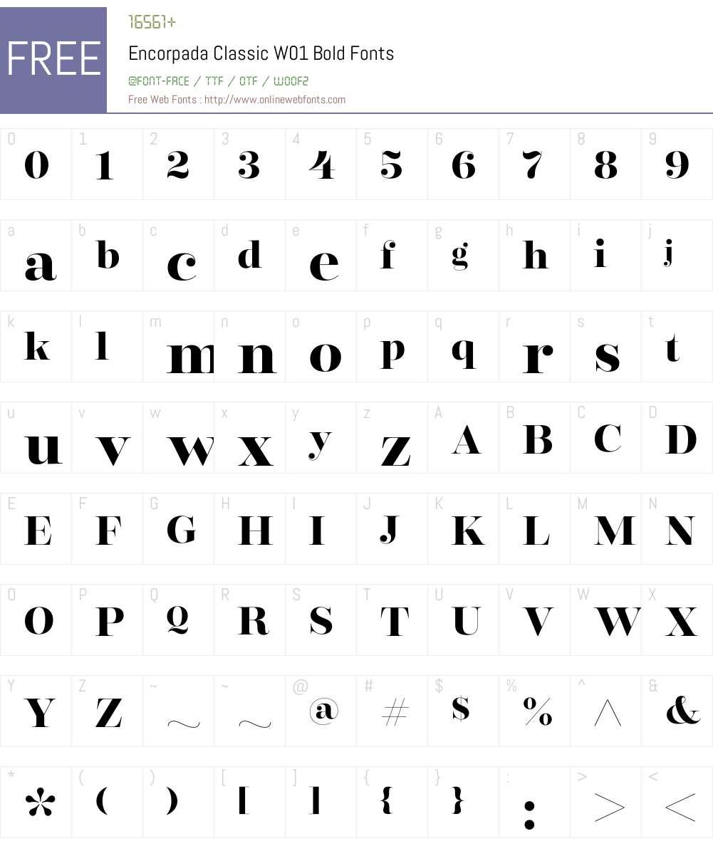 EncorpadaClassicW01-Bold Font Screenshots